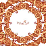 Decorative round frame in Indian mehndi style Royalty Free Stock Photo
