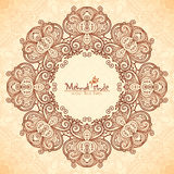 Decorative round frame in Indian mehndi style Stock Images