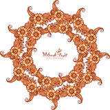 Decorative round frame in Indian mehndi style Royalty Free Stock Image