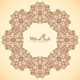 Decorative round frame in Indian mehndi style Stock Photography