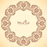 Decorative round frame in Indian mehndi style Royalty Free Stock Photography