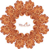 Decorative round frame in Indian mehndi style Royalty Free Stock Photos