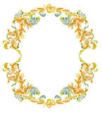 Decorative round frame ornamental floral classic c. Decorative round frame ornamental floral antique style vintage classic color Royalty Free Stock Photos
