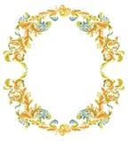 Decorative round frame ornamental floral classic c. Decorative round frame ornamental floral antique style vintage classic color stock illustration