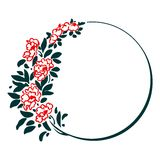 Decorative round frame with red flowers Royalty Free Stock Image
