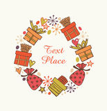 Decorative round garland with present boxes. Ornate wreath with hearts, sacks and gifts. Design holiday elements with many cute de Stock Photo