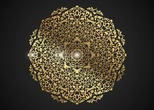 Decorative round gold frame for design with laser cut ornament. Luxury golden Circle mandala. A template for printing postcards royalty free illustration