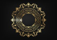 Decorative round gold frame for design with laser cut ornament. Luxury golden Circle mandala. A template for printing postcards stock illustration
