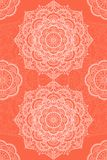 Tibetan mandala illustration. Orange background with white stock illustration