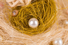 Decorative round pearls. Close up. Stock Photo