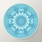 Decorative round plate with blue ornamental mandala from floral elements.  vector illustration