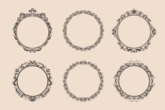 Decorative round vintage frames and borders set. Victorian and baroque style design. Elegant royal-style frame shapes with swirls for labels,tags and Stock Photos
