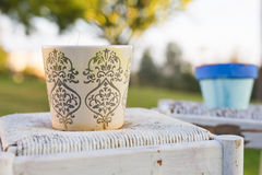 Decorative rusty pot without plant outdoor. Concept of garden decor Royalty Free Stock Images