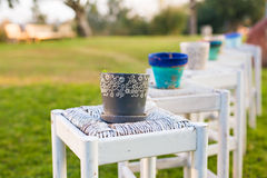 Decorative rusty pot without plant outdoor. Concept of garden decor Stock Images