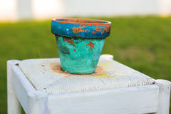 Decorative rusty pot without plant outdoor. Concept of garden decor Stock Photo