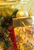 Decorative sack with golden ball. Decorative golden sack with presents Stock Photo