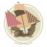 Decorative Sailing ship. Emblems in circle, flat illustration Royalty Free Stock Image
