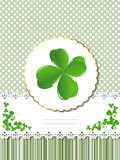 Decorative Saint Patrick card. Decorative card  for St.Patrick's Day with four leaves clover and room for text Stock Images