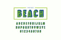 Decorative sans serif bulk font with palm leaf pattern. Letters and numbers for summer headlines design. Color print on white background Royalty Free Stock Images