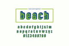 Decorative sans serif bulk font with palm leaf pattern. Lowercase letters and numbers for summer headlines design. Color print on white background Royalty Free Stock Image