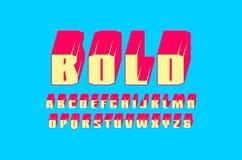 Decorative sans serif extra bulk font. Letters for logo and emblem design. Color print on blue background Stock Photo