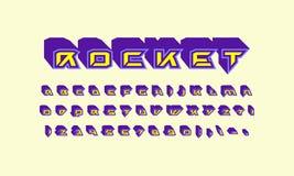Decorative sans serif extra bulk font in futuristic style royalty free illustration