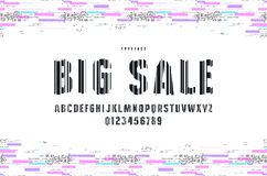 Decorative sans serif font with glitch distortion effect. Letters and numbers for logo and title design royalty free illustration