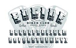 Decorative sanserif bulk font in biker style Stock Photography