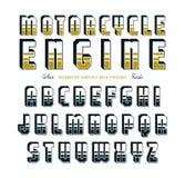 Decorative sanserif bulk font in biker style Royalty Free Stock Photography