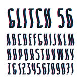 Decorative sanserif font with glitch wavy and shifted effect Royalty Free Stock Photography