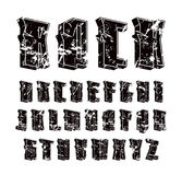 Decorative sanserif font in hard rock style. Design for titles and logos. Black print on white background Stock Photography