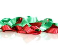 Decorative satin ribbons. Celebrations, birthday and wedding concept. Contrast and diversity concept stock image