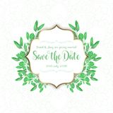 Decorative background with watercolour leaves design stock illustration