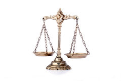 Decorative Scales of Justice. Symbol of law and justice. Scale on white isolated background.Law and justice concept Royalty Free Stock Images