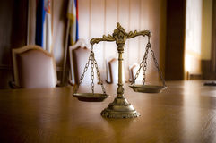 Decorative Scales of Justice. Symbol of law and justice in the empty courtroom, law and justice concept Stock Photo