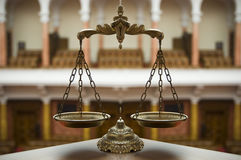 Decorative Scales of Justice. Symbol of law and justice in the empty courtroom, law and justice concept Stock Images
