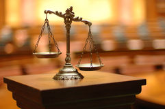 Decorative Scales of Justice in the Courtroom. Symbol of law and justice in the empty courtroom, law and justice concept Stock Photo