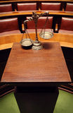 Decorative Scales of Justice in the Courtroom Stock Photography