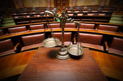 Decorative Scales of Justice in the Courtroom Stock Photos