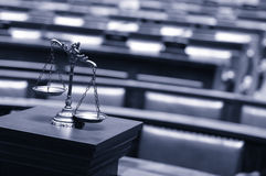 Decorative Scales of Justice in the Courtroom Royalty Free Stock Photos