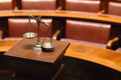 Decorative Scales of Justice in the Courtroom Stock Image