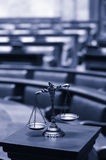 Decorative Scales of Justice in the Courtroom. Symbol of law and justice in the empty courtroom, law and justice concept Stock Photos