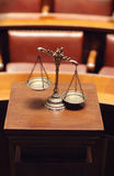 Decorative Scales of Justice in the Courtroom Stock Images