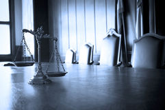 Decorative Scales of Justice in the Courtroom. Symbol of law and justice in the empty courtroom, law and justice concept, BLUE TONE Stock Photos