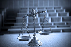 Decorative Scales of Justice in the Courtroom. Symbol of law and justice in the empty courtroom, law and justice concept, BLUE TONE Stock Images