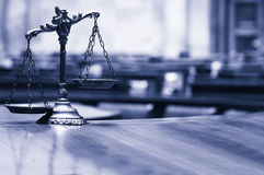Decorative Scales of Justice in the Courtroom. Symbol of law and justice in the empty courtroom, law and justice concept , blue toned Stock Photography