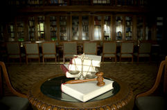 Decorative Scales of Justice and  Judge`s gavel. Symbol of law and justice in the library, law and justice concept Royalty Free Stock Photography