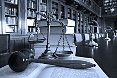 Decorative Scales of Justice in the library. Symbol of law and justice in the library, law and justice concept, Blue tone Stock Photo