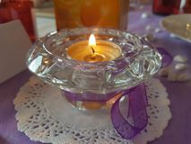 A festive scented candle. Decorative scented candle. in a glass vessel Stock Images