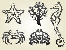 Decorative sea animals set Royalty Free Stock Images